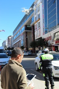 Erzurum'da drone ile trafik denetimi